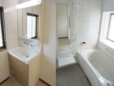 福喜 白基調の清潔感溢れる浴室と、使いやすさ格段アップの洗面リフォーム♪