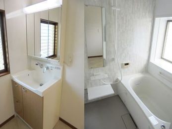 白基調の清潔感溢れる浴室と、使いやすさ格段アップの洗面リフォーム♪